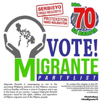 Social media image for Migrante Partylist - English version